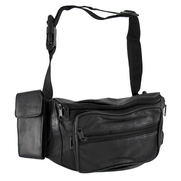 Black Leather Fanny Pack With Phone/Water Bottle Mens Waist Packs