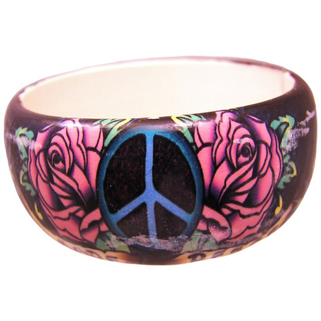 1 1/4 Inch Wide Tattoo Peace & Roses Bangle Womens Bangle Bracelets