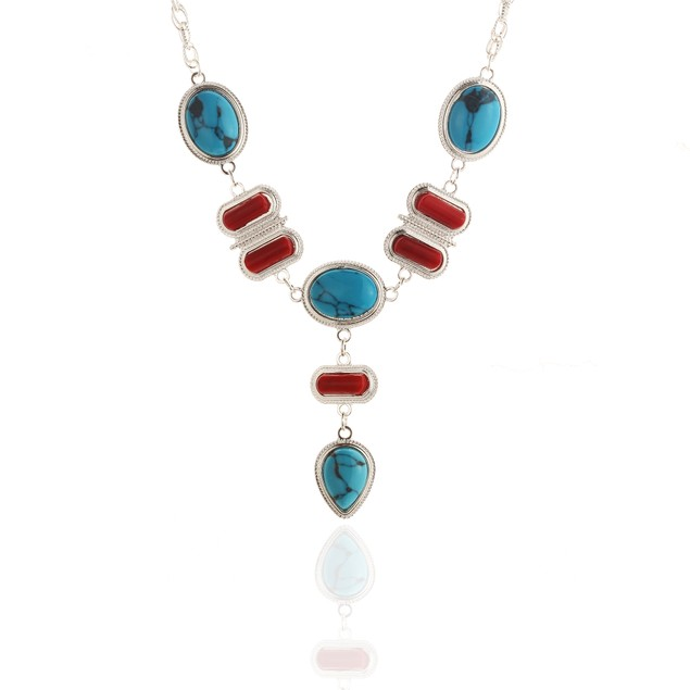 Turquoise Coral Tear Drop Necklace