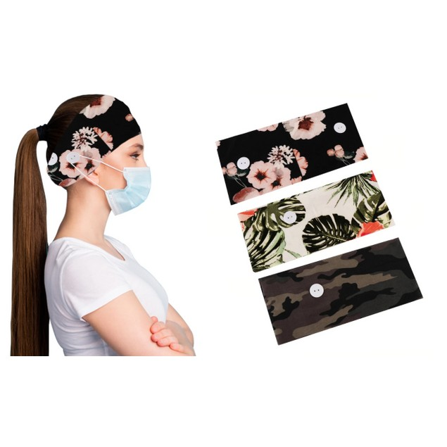 3-Pack Women's Comfy Stretchy Headband With Buttons For Face Masks & Covers