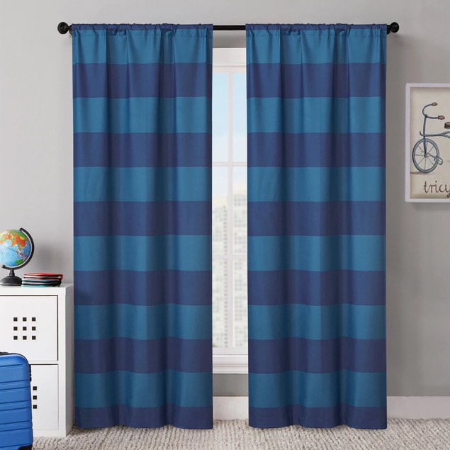 "VCNY Rugby Stripe 38""x84"" Foamback Blackout Curtain Panel Pair"