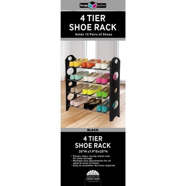 Sunbeam Storage Solutions Stack-able 4 Tier Shoe Rack Closet Organizer
