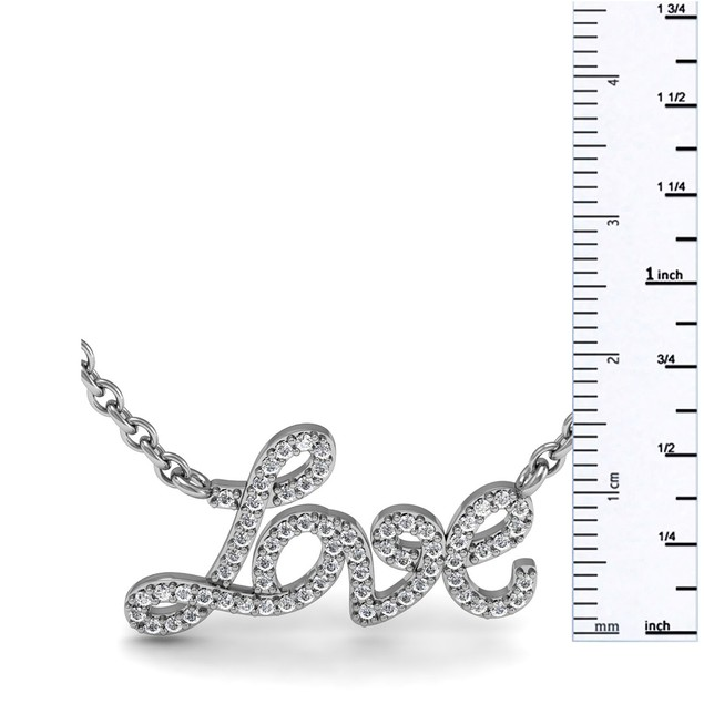 Sterling Silver 1/2 Carat Diamond Love Necklace