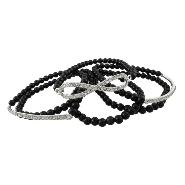 Eternity Design Black Beaded Stretch Bracelet Womens Bangle Bracelets