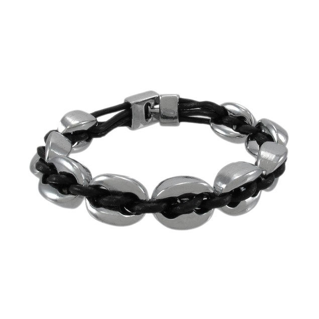 Black Leather And Chrome Marine Link Bracelet 7 Womens Leather Bracelets