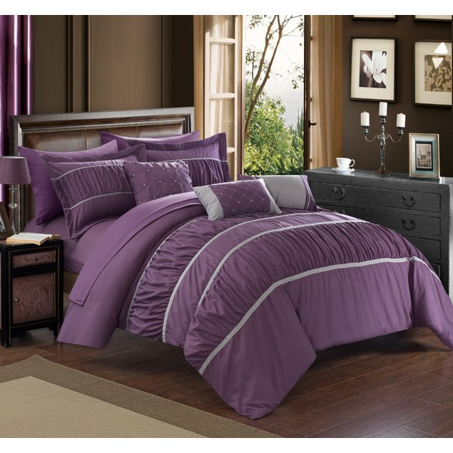 10-Piece Penelope Pleated and Ruffled Bed-in-a-Bag Set with Sheets