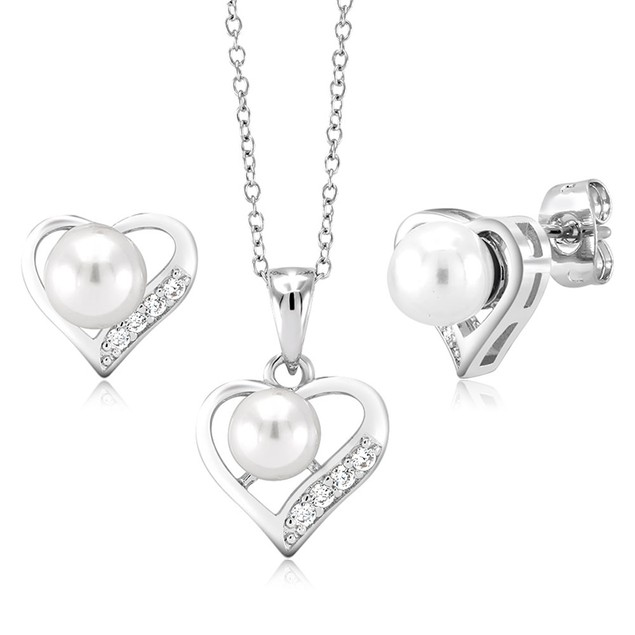 18kt White Gold Freshwater Pearl Set