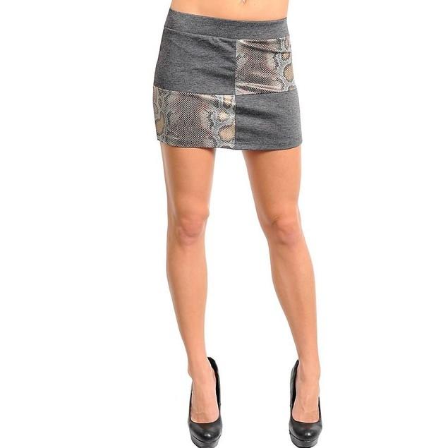 Juniors Fashion Mini-Skirt Gray and Gold New