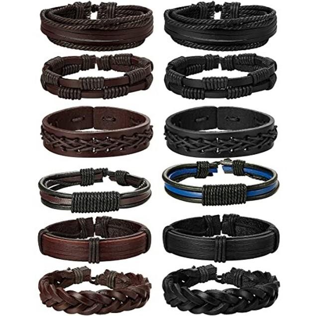 6 Pack Braided Leather Bracelet Set for Men- 2 Colors