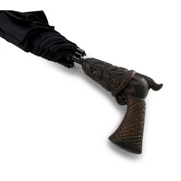50 In. Peacemaker Handle Black Auto Open Stick Umbrellas