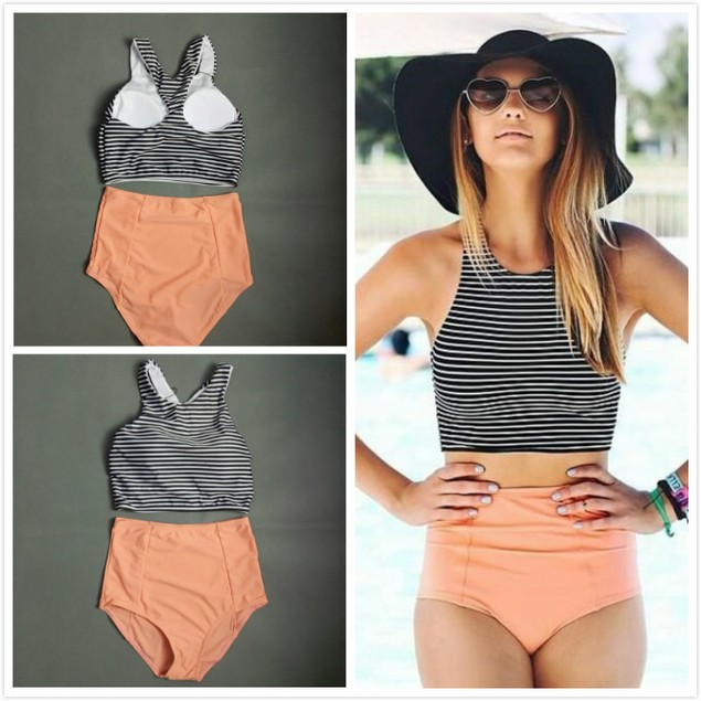 Striped Highwaisted Swimsuit