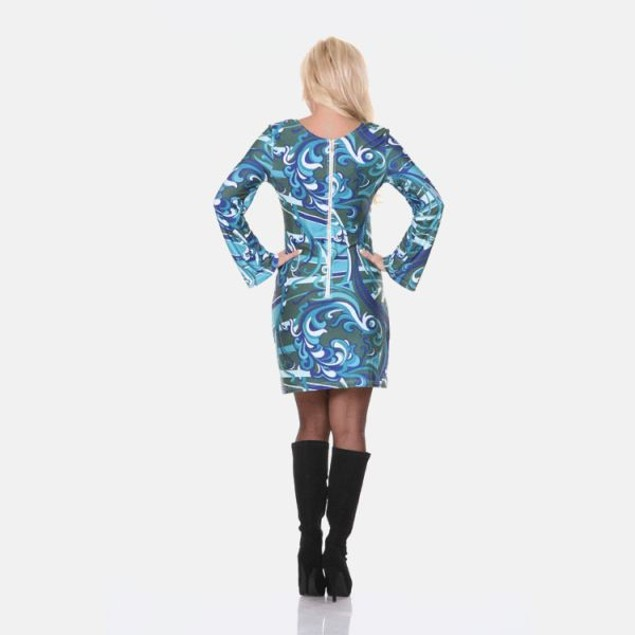 White Mark Guilana Long Sleeve Green Print Dress