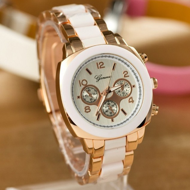 Bold Boyfriend Style Two-Tone Geneva Watch - 3 Colors