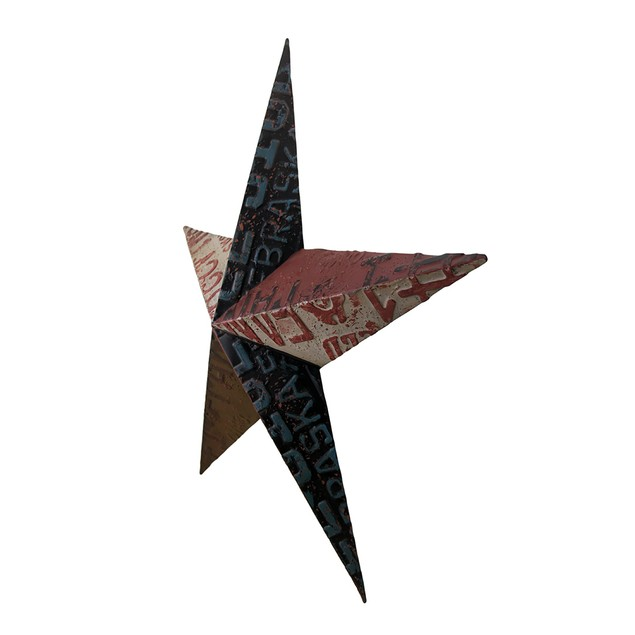 Rustic Metal License Plate Barn Star Wall Hanging Wall Sculptures
