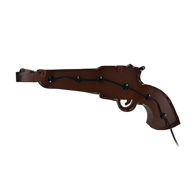 Lighted Pistol Shaped Retro Metal Wall Hanging Wall Sculptures