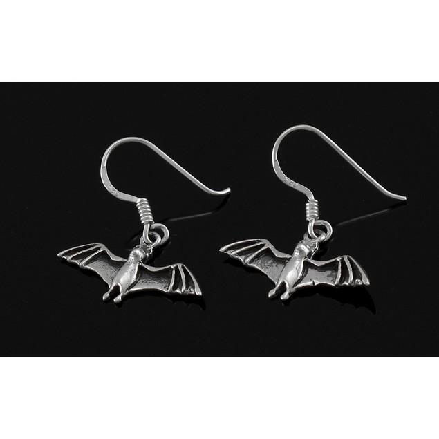 Sterling Silver Flying Bat Dangle Earrings Dangle Earrings