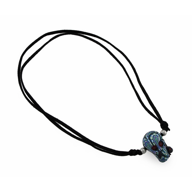 Tie Dye Skull W/Black Spider On Slider Cord Mens Pendant Necklaces
