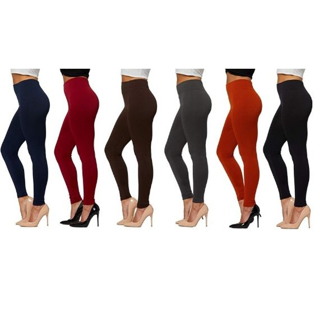 6-Pack Women's Basic Premium Fleece-Lined Leggings