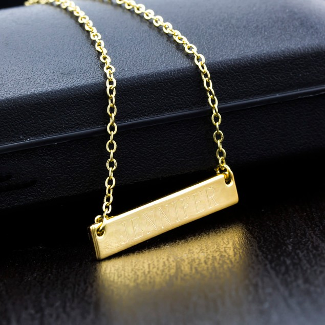 Personalized Long Bar Necklace with Free Gift!