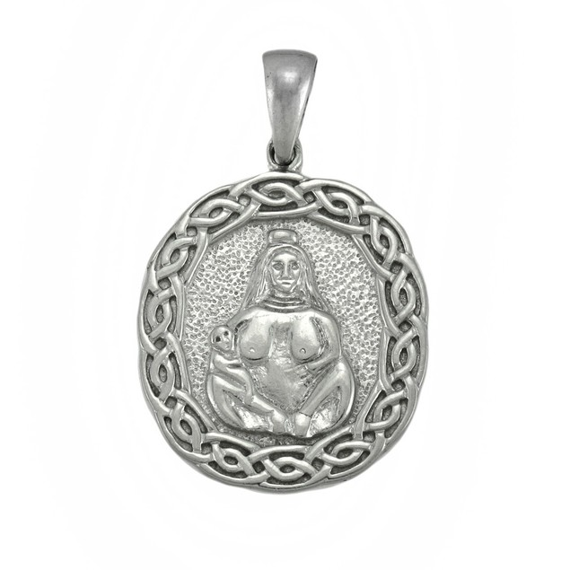 Silvertone Primal Mother And Child Amulet Pendants