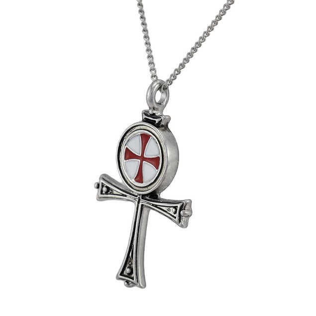 Pewter Templar Knights Ankh Pendant W/ Link Mens Pendant Necklaces