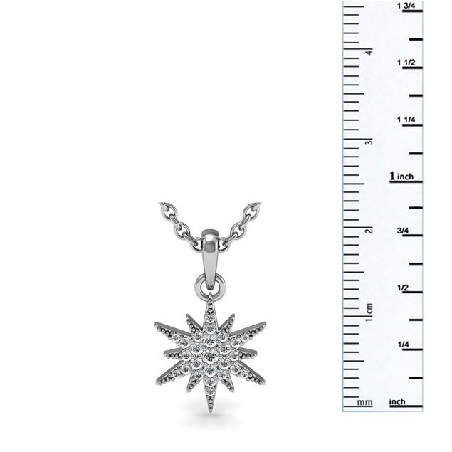 Sterling Silver 1/4 Carat Diamond Starburst Necklace
