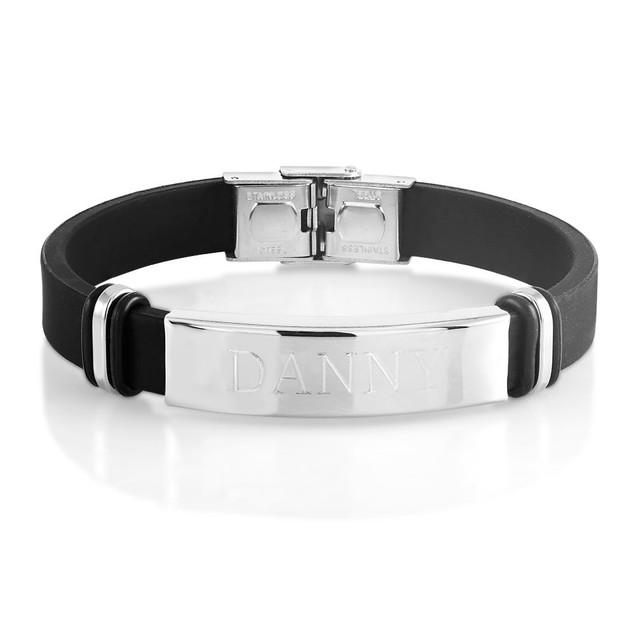 Personalized Men's Leather ID Bracelet
