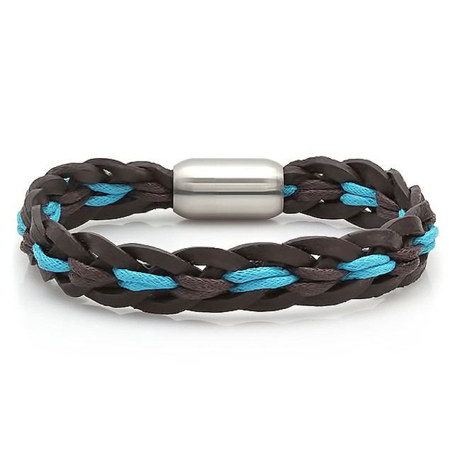 Black leather bracelet with blue accent