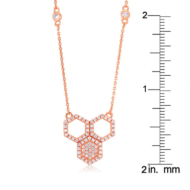 Rose Gold Plated Sterling Silver Honeycomb Necklace