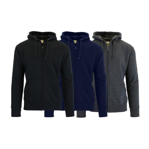 3-Pack Men's Fleece-Lined Zip Sweater Hoodie