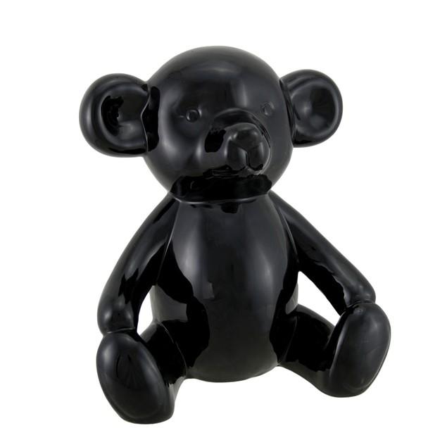 Large Glossy Black Ceramic Teddy Bear Statue 8 1/2 Statues