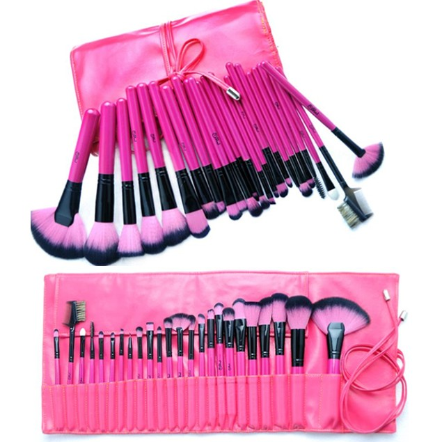 Hot Pink 24 Piece Make Up Brush Set