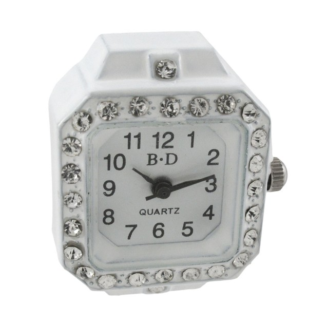 White Enamel Rhinestone Accented Watch Stretch Womens Rings