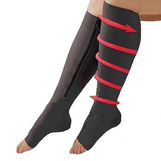 Set of 2: Open Toe Zipper Compression Socks