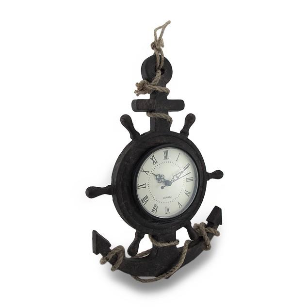 Textured Ship Anchor And Wheel Wall Clock Wall Clocks