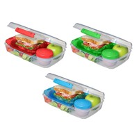 3-Pack Bento Lunch Box 5-Compartment Food Storage Container