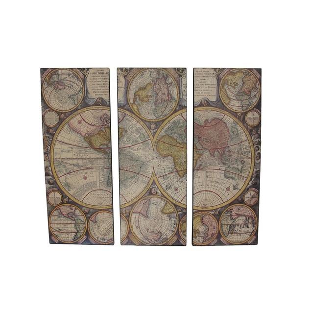 3 Piece Old World Map Canvas Prints Prints
