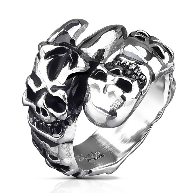 Skulls on Claw Stainless Steel Cast Rings