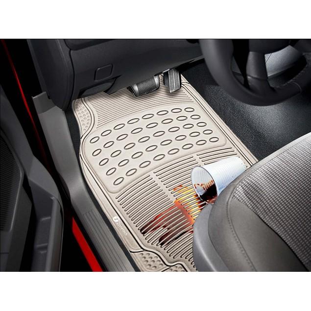Zone Tech Set of 3 Piece Heavy Duty Car Vehicle Beige Rubber Floor Mats
