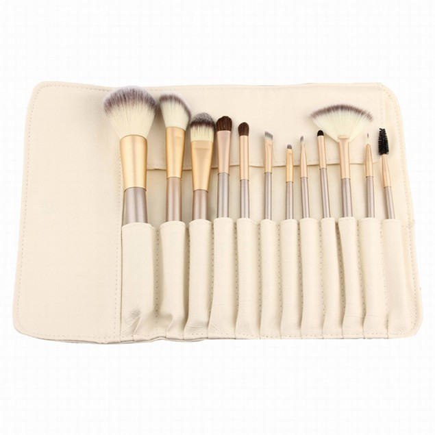 12-Piece: Professional Champagne-Colored Makeup Brush Set