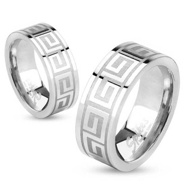 Maze Pattern Ring Stainless Steel