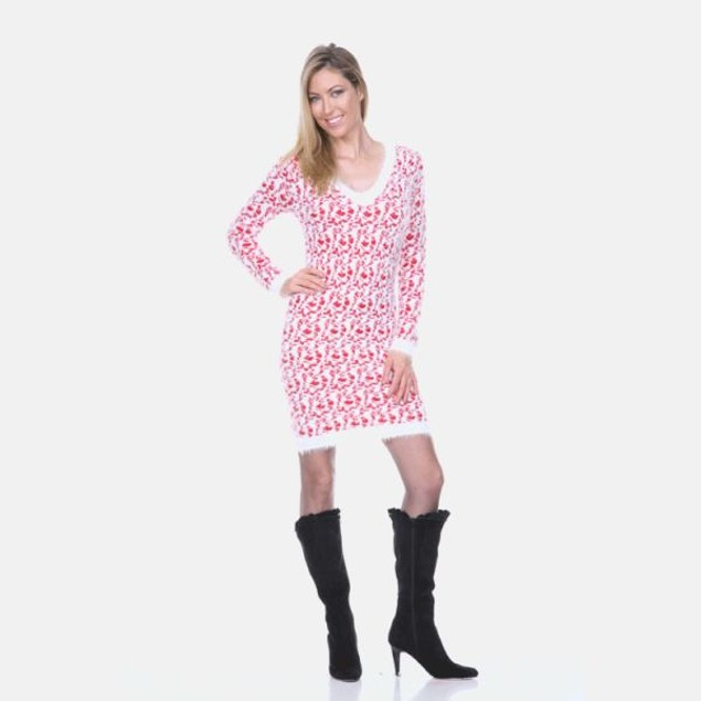 White Mark Red Leopard Sweater Dress