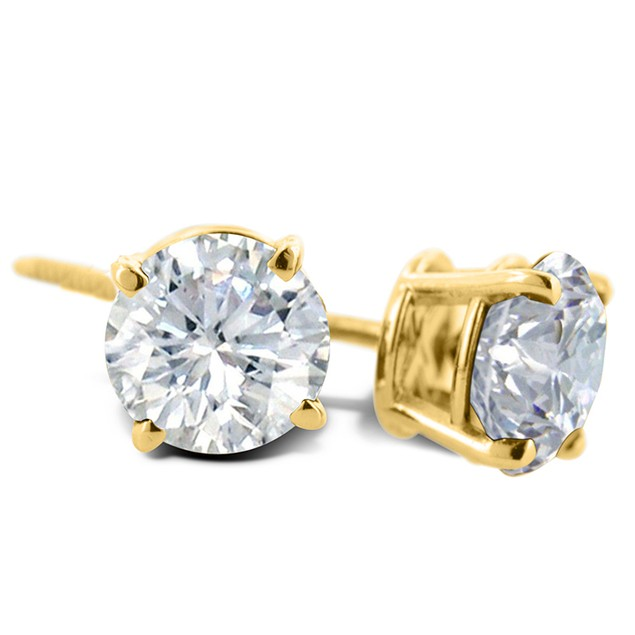 3/4ct Diamond Stud Earrings In 14 Karat Yellow Gold