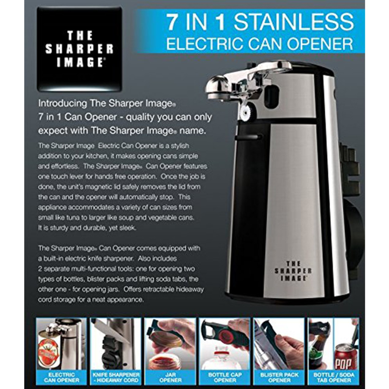 Sharper Image 7 In 1 Electric Can Opener Tanga