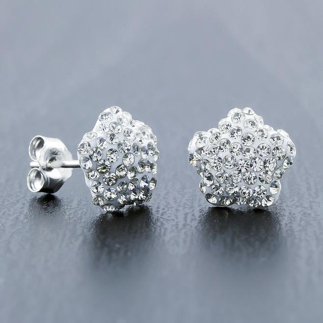 Sterling Silver Sparkling Crystal 10mm Stud Earrings - Flower White