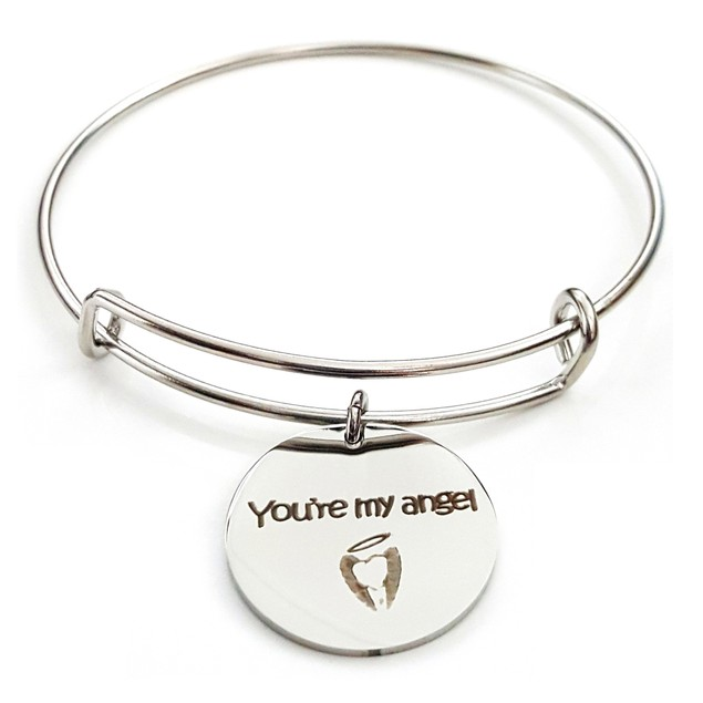 You're My Angel Stainless Steel Bangle