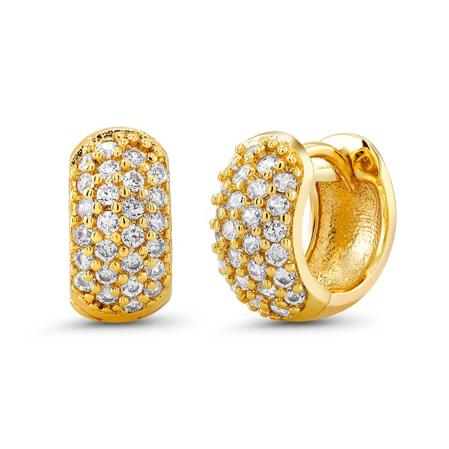 18kt Yellow Small Goldtone Cubic zirconia  Huggie Earrings