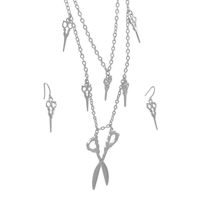 Silver Tone Double Strand Scissors Necklace And Womens Earring And Necklace