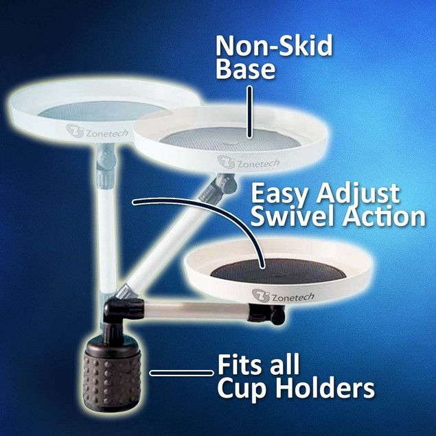 Zone Tech Car Swivel Mount Holder Travel Drink Cup Table Stand Food Tray