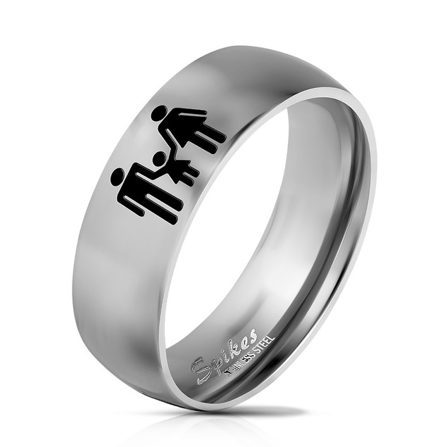 Family Logo Engraved Classic Dome Stainless Steel Rings